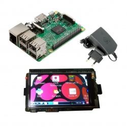 Pachet Raspberry Pi 3 Model B + Alimentator de 2.5 A, 5.1 V + LCD de 3''