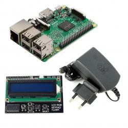 Pachet Raspberry Pi 3 Model B + Alimentator de 2.5 A, 5.1 V + LCD Hat 1602