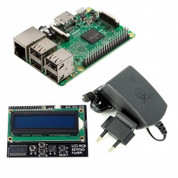 Raspberry Pi 3 Model B + 2.5 A 5.1 V Power Supply + Hat 1602 LCD (pack)