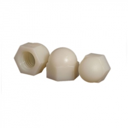 Plastic Nuts With Cover, White, M3