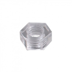 Plastic Hexagonal Nuts, Transparent, M3