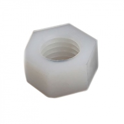 Plastic Hexagonal Nuts, White, M3