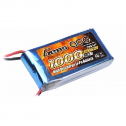 Lipo Gens ace 1000mAh 7.4V 25C 2S1P Battery