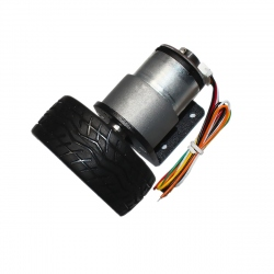 JGB37-520 Gearmotor with Encoder and Wheel (6 V, 52 RPM)