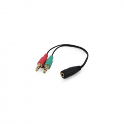 3.5 mm 4-pin socket to 2 x 3.5 mm stereo plug adapter cable, black