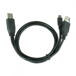 Dual USB A to Mini-USB cable, 3 ft