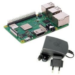 Raspberry Pi 3 Model B + and 2.5 A, 5.1 V  Power Supply (Pack)