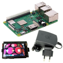 Raspberry Pi 3 Model B + and 2.5 A 5.1 V Power Supply + 3'' LCD (pack)