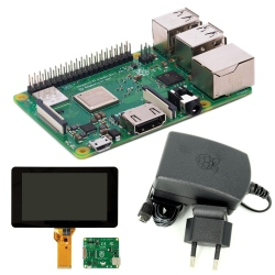 "Raspberry Pi 3 Model B + and 2.5 A, 5.1 V Power Supply + 7"" Touchscreen LCD"
