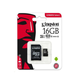 microSDHC 16GB Kingston Canvas Select + adapter