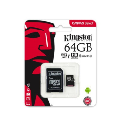 microSDXC 64GB Kingston Canvas Select +adapter