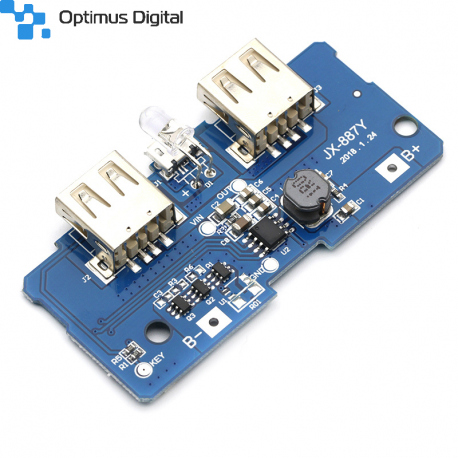 DC-DC Boost Module with microUSB Input, Charging Function for Li-Ion Batteries and USB Outputs
