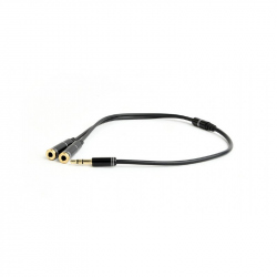 3.5 mm Audio Splitter Cable, 10 cm, Black, Metal Connectors
