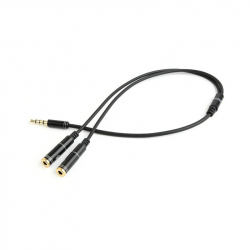 3.5 mm Audio + Microphone Adapter Cable, 0.2 m, Metal Connectors
