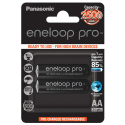 Pack of 2 R6 Panasonic Eneloop Pro BK-3HCDE/2BE battery