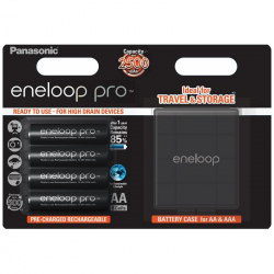 Pack of 4 R6 Panasonic Eneloop Pro BK-3HCDEC4BE + storage box