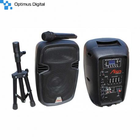 2108DA-R Active ABS Enclosure for 8'' Speaker with USB/SD/FM/BT/ACCU