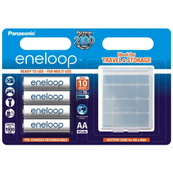Pack of 4 R6 Panasonic Eneloop BK-3MCCEC4BE + storage box