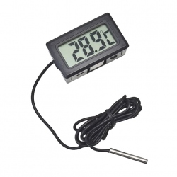 Black Digital Thermometer with External Probe (1 m, 2s refresh)