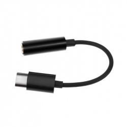 USB type-C plug to stereo 3.5 mm audio adapter cable, black