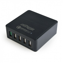 5-port USB quick charger, QC 3.0, black