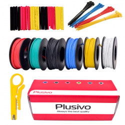 Plusivo Silicone Wire Kit (22AWG, 6 colors, 7m each)