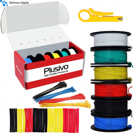 Plusivo Silicone Wire Kit (30AWG, 6 colors, 20m each)