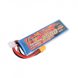 Gens ace 2500mAh 7.4V 25C 2S1P Lipo Battery Pack with XT60 Plug