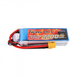 Gens ace 2200mAh 14.8V 25C 4S1P Lipo Battery Pack with XT60 Plug