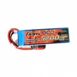 Gens ace 5200mAh 11.1V 10/20C 3S2P Lipo Battery Pack with 3.5mm Banana Connector