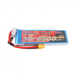 Gens ace 2500mAh 11.1V 25C 3S1P Lipo Battery Pack with XT60 plug