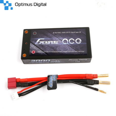 Gens Ace 3000mAh 7.4V 50/100C 2S1P 58 HardCase Lipo Battery Pack with 4.0mm Bullet to T plug+XHR