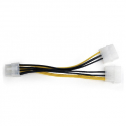 Internal power adapter cable for PCI express, 8 pin to Molex x 2 pcs