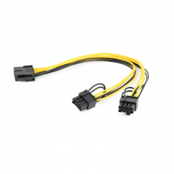 PCI-Express 8-pin to 2x PCIe 6+2 pin power splitter cable, 0.3 m