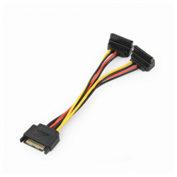 SATA power splitter cable with angled output connectors, 0.15 m