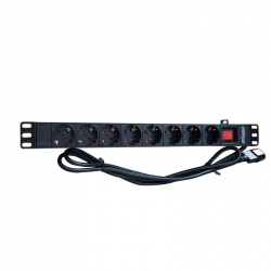 Power distribution unit (PDU), 8 Schuko sockets, 1U, 16A, C14 plug 3 m cable