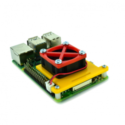 Raspberry Pi 4 Fan Mounting Bracket (Yellow and Red)