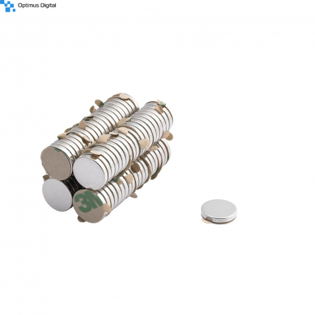 Neodymium disc magnet 12x2 thick N38 with 3M tab