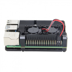 Heatsink Case for Raspberry Pi 4 (Black Color, Dual Fan)