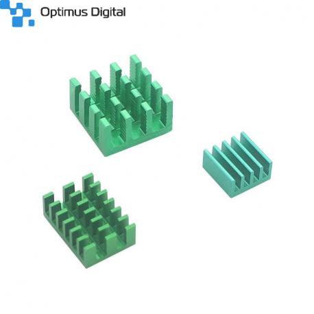 Aluminum Heatsink Set for Raspberry Pi 4 (Green Color)