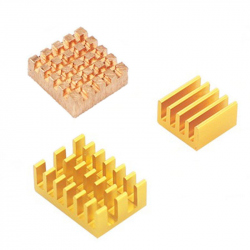 Aluminum and Copper Heatsink Set for Raspberry Pi 4 (Orange Color)