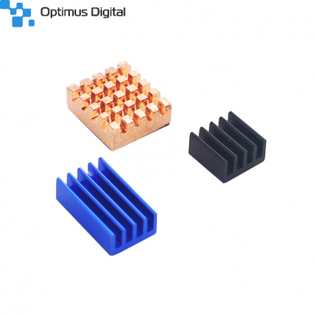 Aluminum and Copper Heatsink Set for Raspberry Pi 4 (Blue, Black and Orange Color)
