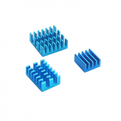 Aluminum and Copper Heatsink Set for Raspberry Pi 4 (Blue)