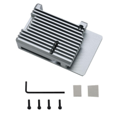 Silver Color Metal Case for Raspberry Pi 4 without Fan