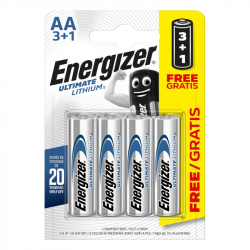 Pack of 4 R6 Energizer Ultimate AA L91 Lithium battery
