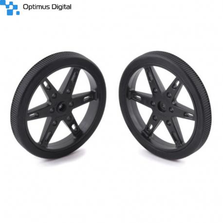 Pololu Wheel for Standard Servo Splines (25T, 5.8mm) - 70×8mm, Black, 2-Pack