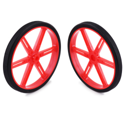 Pololu Wheel for Standard Servo Splines (25T, 5.8mm)  - 90×10mm, Red, 2-Pack