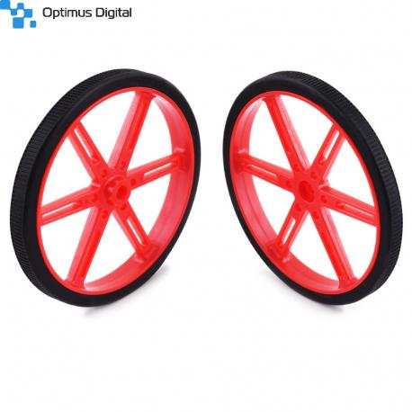 Pololu Wheel for Standard Servo Splines (25T, 5.8mm) - 70×8mm, Red, 2-Pack