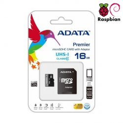 16GB MicroSD Card with NOOBs for Raspberry Pi 3 ADATA with Adaptor