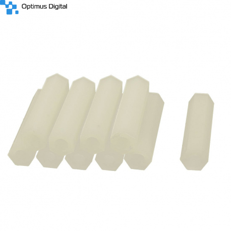 M2 White Plastic Hexagonal Pillar (12 mm)
